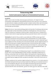 Årsberetning 2008 - DFFMF (pdf) - Fagforum for Muskuloskeletal ...