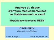 Analyse du risque d'erreurs médicamenteuses : expérience ... - ADIPh