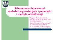 Zdravstvena ispravnost ambalažnog materijala - parametri i metode ...