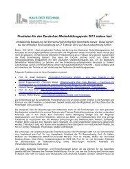 Finalisten für den Deutschen Weiterbildungspreis 2011 stehen fest