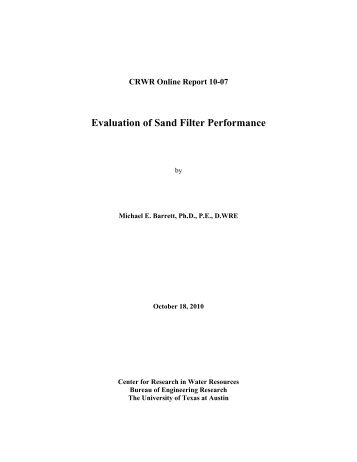 Evaluation of Sand Filter Performance - Center for Research in ...