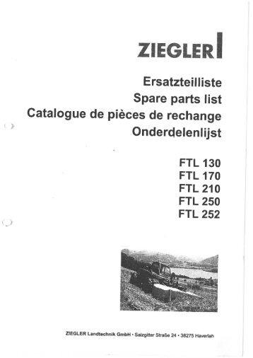 Page 1 ZIEGLERI Ersatzteilliste Spare parts list Catalogue de pièces ...