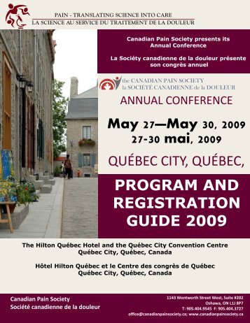 registration and program guide 2009 for pdf - The Canadian Pain ...