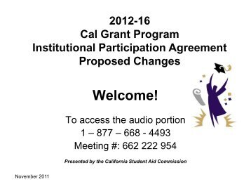 Proposed Change - CSAC California Student Aid Commission