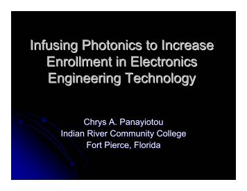 Infusing Photonics to Increase Enrollment in Electronics Engineering ...