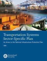 Transportation Systems Sector-Specific Plan 2010 - Homeland ...
