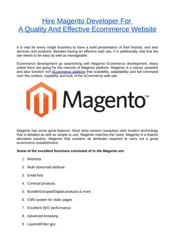 Hire Magento Developer For A Quality And Effective Ecommerce Website