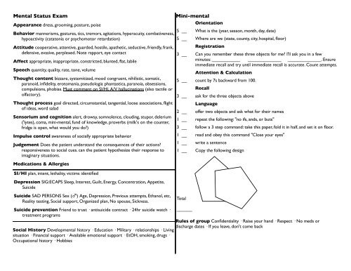 graphic about Mini Mental Status Exam Printable named Mini Psychological Standing Take a look at card - TMedWeb