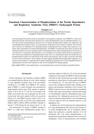 Functional Characterization of Phosphorylation of the Porcine ...