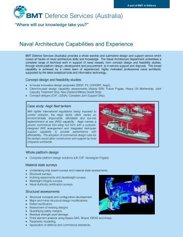 Naval Architecture Capabilities and Experience - BMT Group