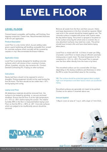 Level Floor Technical Data Sheet - Danlaid Contracting