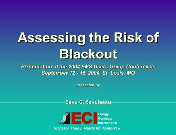 Assessing the Risk of Blackout - EMS Users Conference