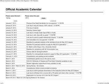 Official Academic Calendar | Office of the Registrar | UNC Charlotte