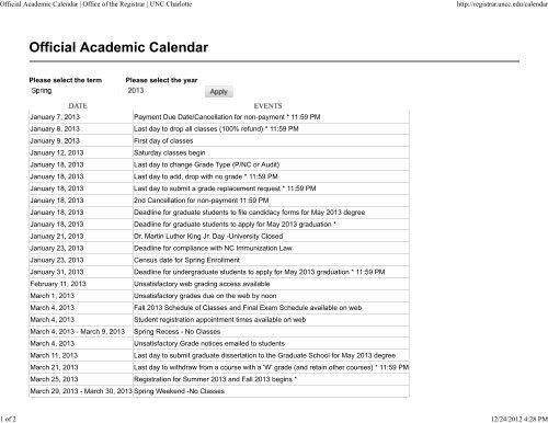 Usf Registrar Calendar.Official Academic Calendar Office Of The Registrar Unc Charlotte