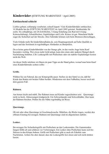 Kinderräder (STIFTUNG WARENTEST / April 2005 ... - Kinderfahrrad