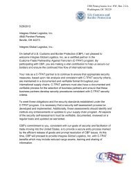 CTPAT Primary Letter of Certification