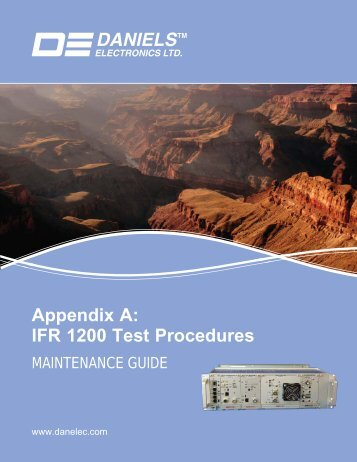 Appendix A: IFR 1200 Test Procedures - Daniels Electronics