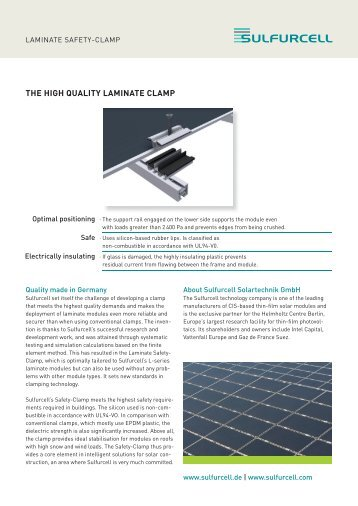 THE HIGH QUALITY LAMINATE CLAMP - Soltecture GmbH