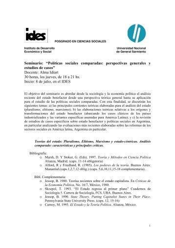 Políticas sociales comparadas: perspectivas generales y ... - IDES