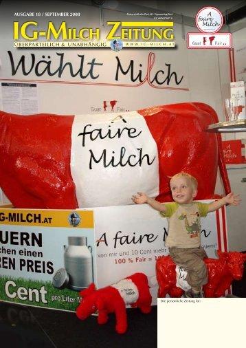18. Zeitung, Ausgabe September 2008 - IG-Milch