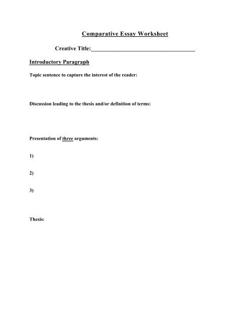 Comparative Essay Worksheetpdf