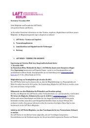 Newsletter November 2010 Liebe Mitglieder und Freunde des LAFT ...