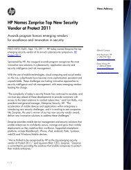 HP Names Zenprise Top New Security Vendor at Protect ... - ArcSight