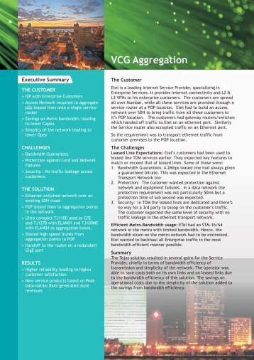 VCG Aggregation Case Study - Tejas Networks