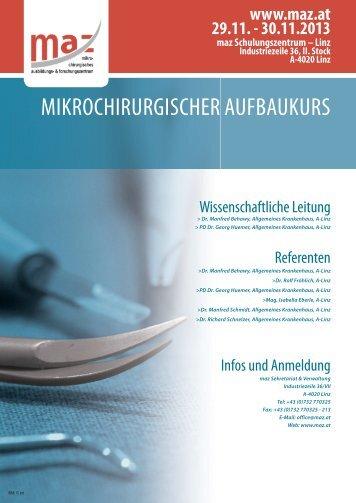 mikrochirurgischer aufbaukurs - MAZ - mikrochirurgisches ...