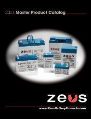 2011 Master Product Catalog - ZEUS Battery