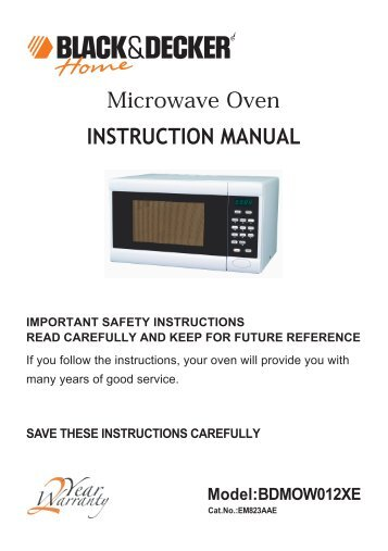 black & decker microwave oven manual