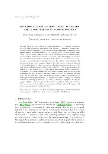 on variance estimation under auxiliary value imputation in sample ...