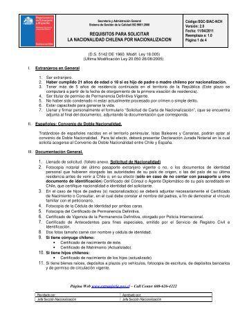 requisitos para solicitar la nacionalidad chilena por nacionalizacion