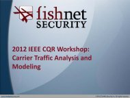 2012 IEEE CQR Workshop: Carrier Traffic Analysis and Modeling