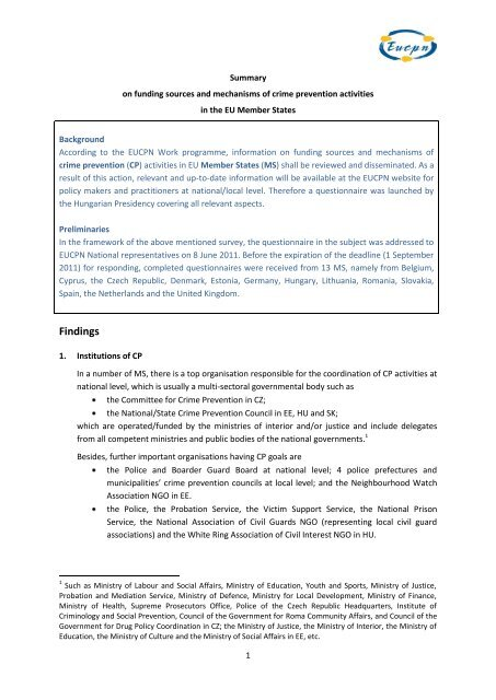 Summary on funding sources and mechanisms of crime