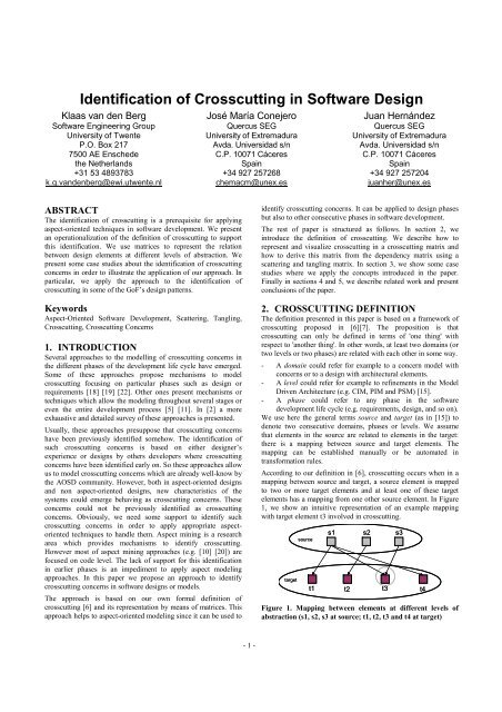 Identification Of Crosscutting In Software Design Researchgate