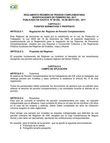 Reglamento régimen de pensión complementaria - Grupo ICE