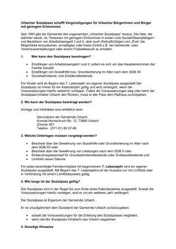 Sozialpass - Gemeinde Urbach
