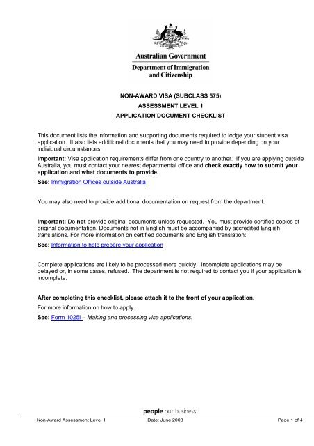 Application checklist NON AWARD VISA (SUBCLASS 575)
