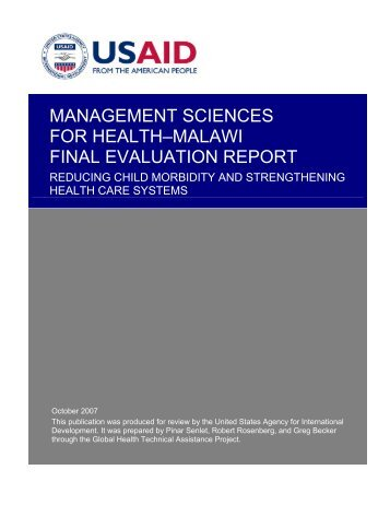 management sciences for health–malawi final evaluation report