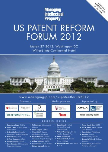 US PATENT REFORM FORUM 2012 - Managing Intellectual Property