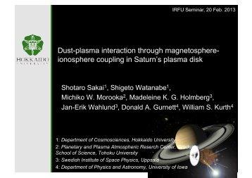 Dust-plasma interaction through magnetosphere ... - Space.irfu.se