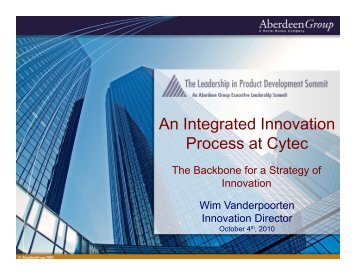 A I t t dI ti An Integrated Innovation Process at Cytec - Summit