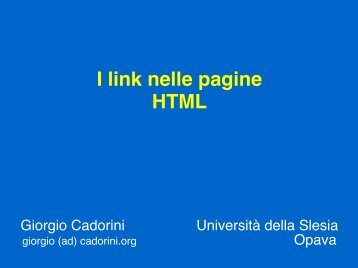 I link nelle pagine HTML