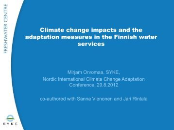 Climate change impacts and the adaptation measures in the Finnish ...