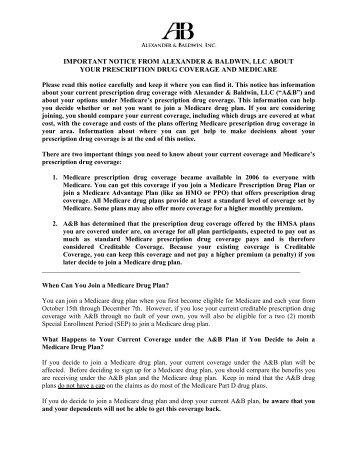 creditable coverage disclosure notice alexander baldwin inc