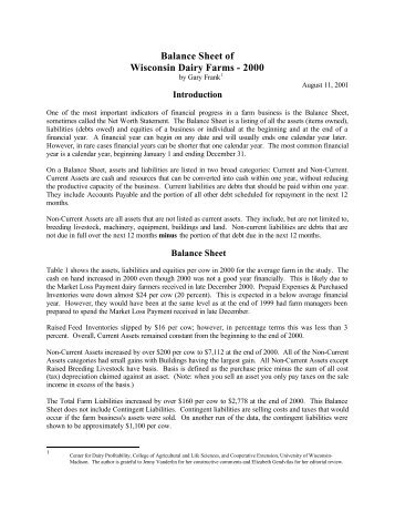 Balance Sheet of Wisconsin Dairy Farms - 2000 - the Center for ...