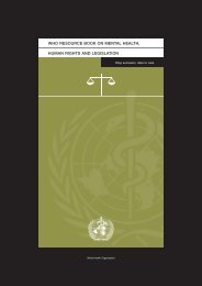 human rights and legislation who resource book on mental health
