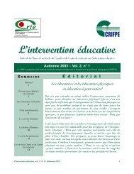 Vol. 2 no 1 - Centre de recherche sur l'intervention éducative (CRIE)