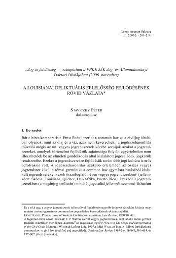 A louisianai deliktuális felelősség fejlődésének rövid vázlata - IAS